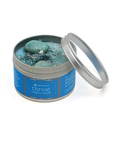 (Buddha Groove Chakra Gemstone Candles Made with Essential Oils   Soy Wax and Vegetable Dyes   Topped with Stone Sprinkles and Glitters   (Throat Chakra))