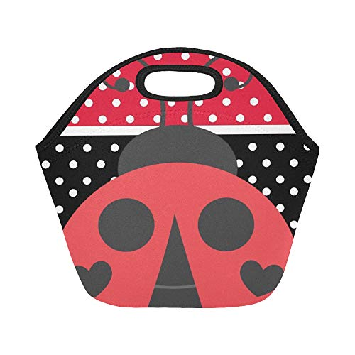- Insulated Neoprene Lunch Bag Red And Black Stripe Speckle Ladybirds Large Size Reusable Thermal Thick Lunch Tote Bags For Lunch Boxes For Outdoors,work, Office, School