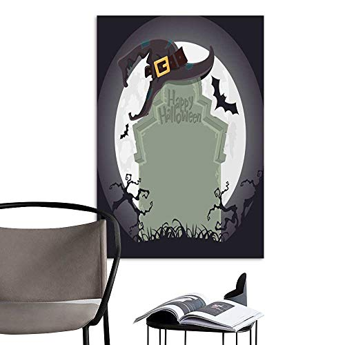 UHOO Canvas Wall Art Painting Creepy Tombstone and Black Witch hat Halloween Party Decoration Vector.jpg Nature Canvas Artwork Home Office Wall -