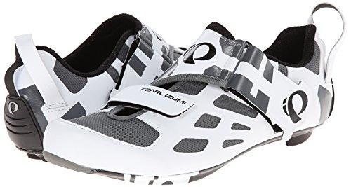 2015Pearl Izumi para hombre Tri Fly V carbono bicicleta zapatos blanco/negro EU 40