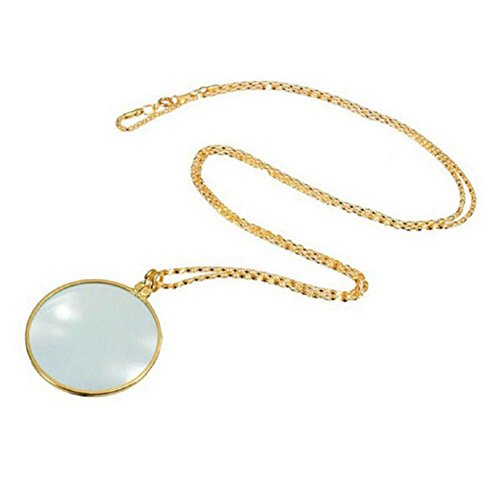 TONSEE 6x Magnifier Pendant Necklace Magnify Glass Reeding Decorativ Monocle Necklace (Gold)
