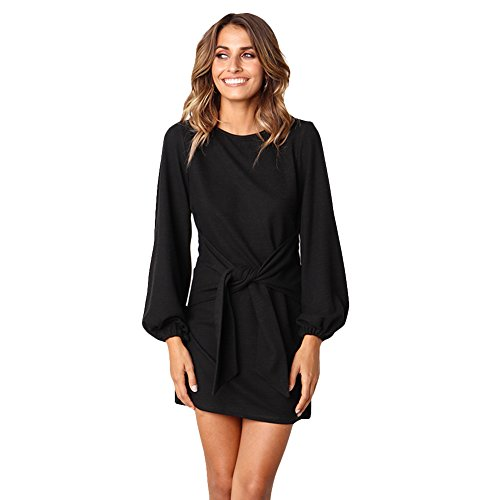 Longwu Women's Loose Casual Front Tie Long Sleeve Bandage Party Dress Black-S