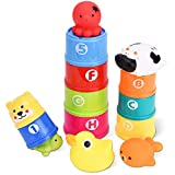 ROOYA BABY Bath Toys & Stacking Cups, Toddler Educational Toys Nesting Cups Rubber Animals for Kids, BPA Free Early Development Toys for Indoor Outdoor Beach Bath
