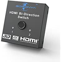 Goronya HDMI Switch, 2 Ports Bi-directional Switch 2x1 1x2 HDMI Hub Supports 4K Ultra HD, 1080P, 3D and HDCP Passthrough