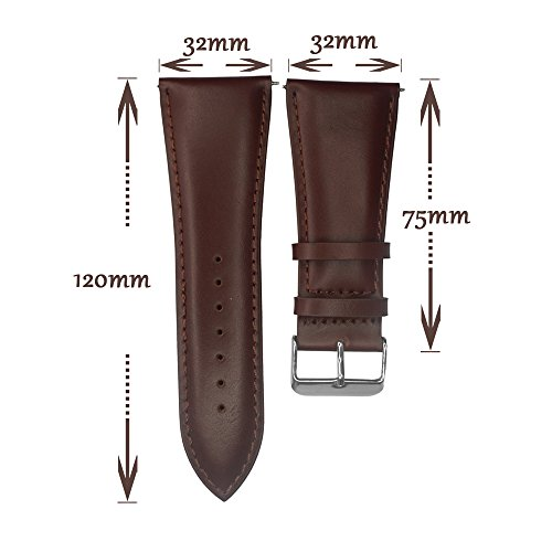 IVAPPON 32mm Leather Watch Band, YQI Men's Solid Color Genuine Leather Watch Strap (Black) by IVAPPON (Image #3)