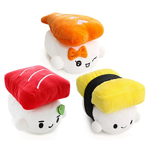 Sushi Cushion 6″ (15cm) x 3 set, Egg, Shrimp, Tuna by Choba, Cute Plush Pillow Cushion Doll Toy Bedding Room Decoration Kawaii 412Eaz5qf 2BL