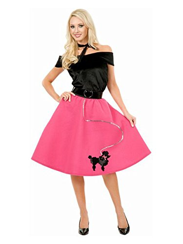 This 1950 s costume for women includes fuchsia poodle skirt with black  velvet top and black scarf. This cute poodle skirt and top are spot clean  only. 100aff878fa1