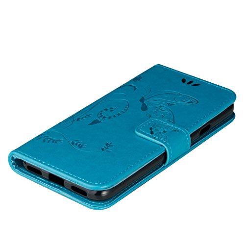 Erdong® Magnético Folio Flip Caso Con pata de cabra titular de la tarjeta Para Google Pixel XL 5.5, Elegant Simple Book-style [Azul flor de mariposa] patrón de impresión cuero del soporte Folio Pouch