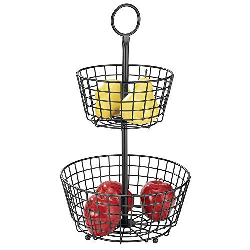 mDesign Cesta de frutas moderna – Canasta para frutas grande con 2 niveles para la mesa del comedor o la encimera de la cocina – Frutero metalico decorativo – negro mate