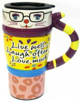 Viidor Lovely Cat Multifunction Ceramic Gift Mug, 21oz