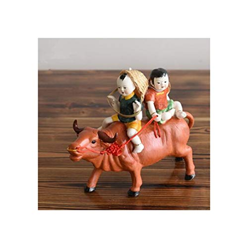 MUZIWENJU Decoration, Sculpture Porcelain, Jingdezhen Ceramics, Shepherd Riding Cow Office Craft Gift Ornaments, Feng Shui Bookcase Porch Small Furnishings, Home Accessories, New House Decorations, Ho