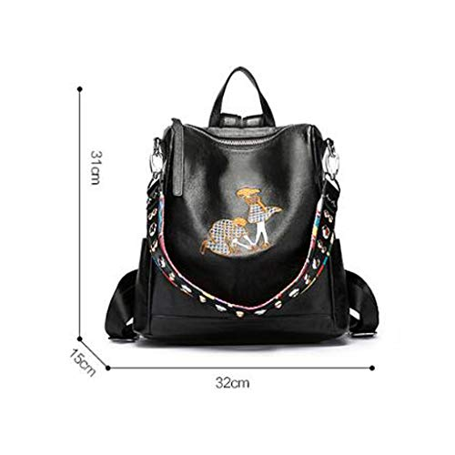 Personality Version Korean Bag Travel 2018 Tide Fashion New Wild Embroidery Backpack Female Leather W6qcvSYOa