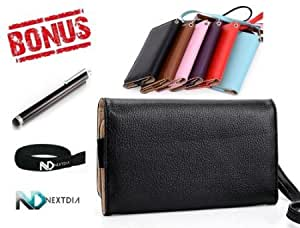Cerhinu HTC Windows Phone 8X Black EPI Leather Bifold Wristlet Travel Wallet Case + Long Black Stylus Pen with Clip and...