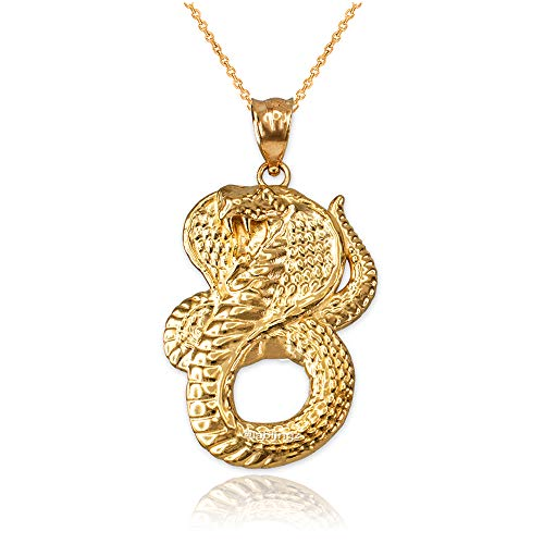 LA BLINGZ 14K Yellow Gold King Cobra Snake Pendant Necklace (22)