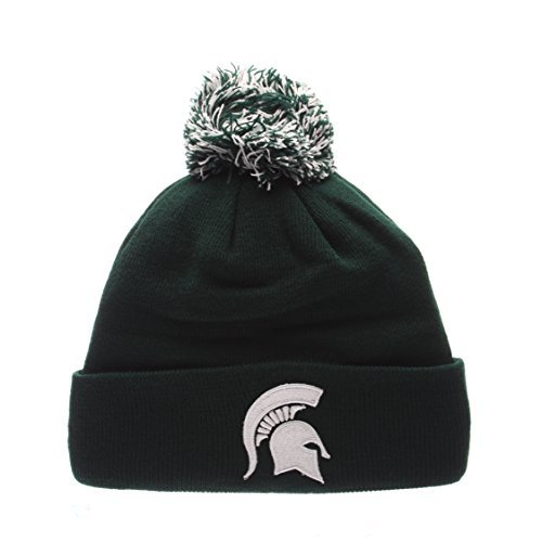 ZEPHYR Cuff Beanie sombrero con Pom Pom–NCAA Cuffed Invierno Knit Toque Pac, MSU Spartans - Green