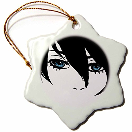 (3dRose ORN_130509_1 Cool Face by Cam Anime Girl Snowflake Ornament, Porcelain, 3-Inch)