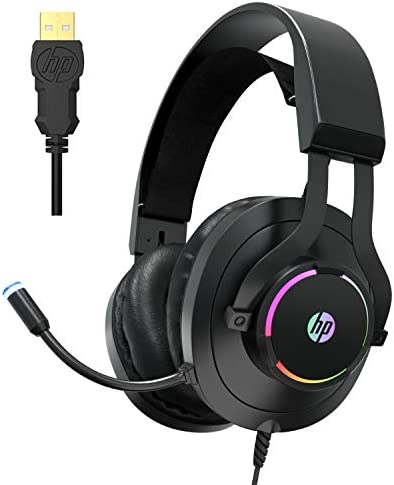 HP USB PC Gaming Headset with Microphone- 7.1 Virtual Surround Sound Game Headphones with Noise Cancelling Mic -Breathable Leatherette Memory Foam Earpads LED RGB Backlit for Computer/Laptops/PC