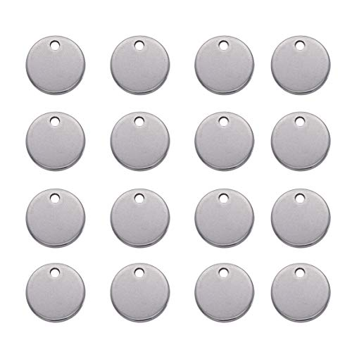 Beadthoven 100pcs 3/8''Inch(10mm) 304 Stainless Steel Blank Stamping Tag Pendants for Bracelet Earring Pendant Charms & Holiday Wedding Home Decoration
