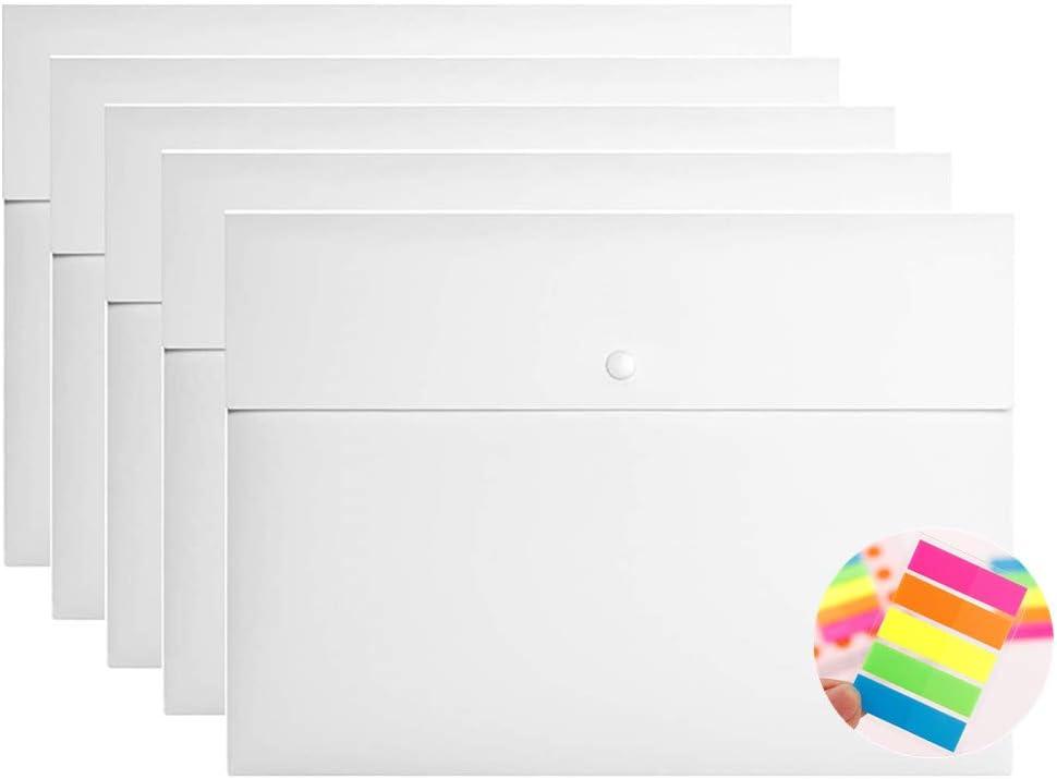 5 PCS Plastic Envelope Poly File Folder, with 125 PCS Colour Notes Stickers Folder Pockets File Jacket Plastic Envelope Flat Document Letter Organizer with Snap Button Closure A4 Letter Size (White)