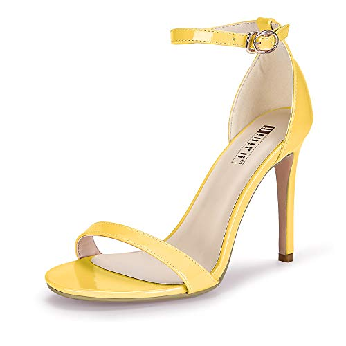 IDIFU Women's IN4 Slim-HI Open Toe Stiletto High Heel Ankle Strap Dress Sandals Party Shoes (8 M US, Yellow Patent)