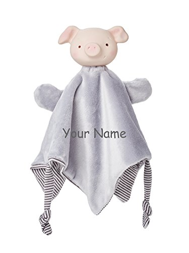 Personalized Bunnies by the Bay Hanky Blanky Hammie Piglet for Baby Boy or Baby Girl Baby Blanket with Teether- 11 ()
