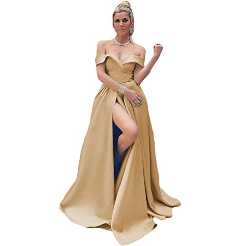 Dreagel Charmantes Robes De Bal De L'épaule De Satin Longue De Haute Robe De Soirée Fendue Pour Les Femmes D'or