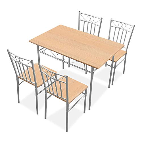 Harper & Bright Designs 5 Pieces Dining Table Set 4 Person Home Kitchen Table and Chairs - Wood and Metal Dining Room Breakfast Furniture - Oak