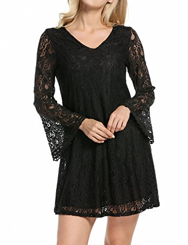 Women's V Neck Flare Sleeve Crochet Lace A-Line Cocktail Party Dress Black, S
