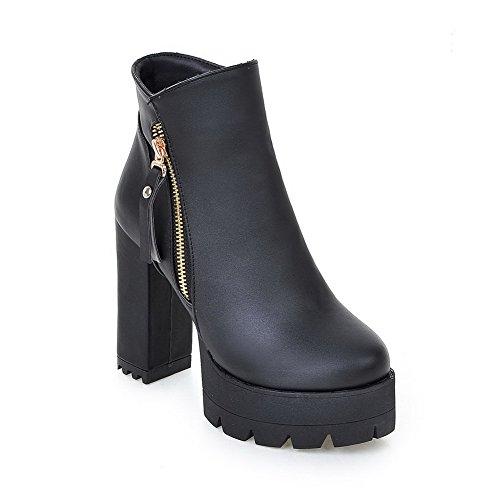 AgooLar Damen Hoher Absatz Niedrig-Spitze Rein Reißverschluss Stiefel mit Anhänger, Schwarz, 36