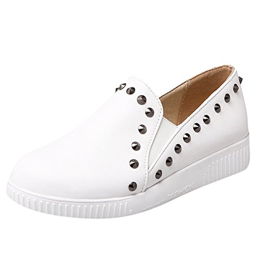 Show Shine Womens Rivets Bungees Platform Thick Heel Loafers Shoes White EmHbzrw