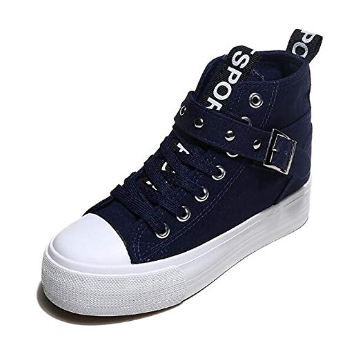 Fall Low Red Canvas Comfort Heel Zapatos de Spring Blue Black Blue Sneakers Mujer ZHZNVX 4n8XPHq