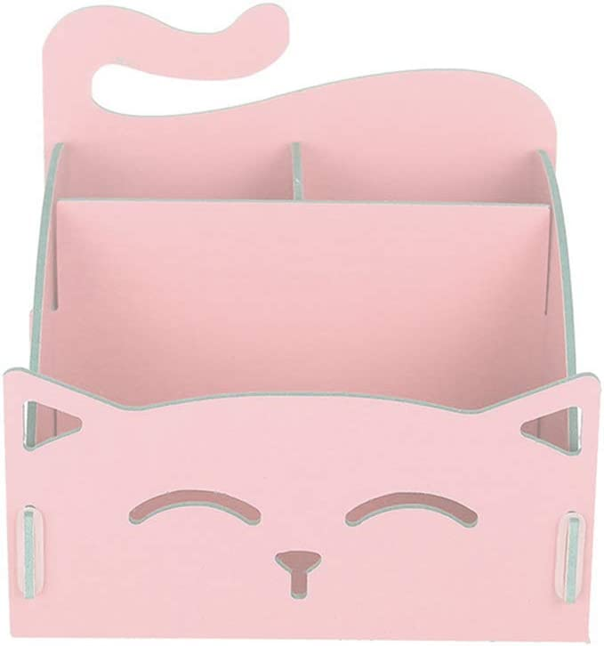 Toyvian DIY Assemble Pen Holder - Wood Cat Pencil Box, Cosmetic Storage, Desktop Organizer, Cute Stationery for Home Office