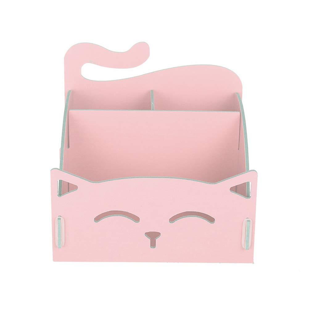 YeahiBaby in legno cosmetici organizer portaoggetti contenitore assemblato desktop Holder (rosa)