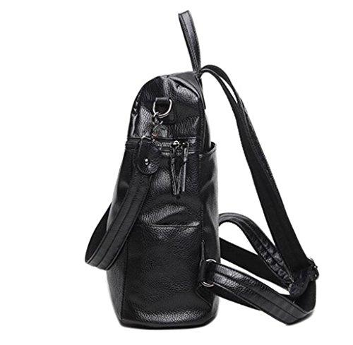 Great Strange Zaino dello studente Retro PU Grande capienza Zipper Zaino multifunzionale Shopping Ragazze Nero 29 * 15 * 32cm