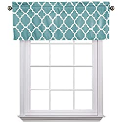 "Flamingo P Moroccan Teal Valance Curtain Extra Wide and Short Window Treatment for for Kitchen Living Dining Room Bathroom Kids Girl Baby Nursery Bedroom 52"" X18"""