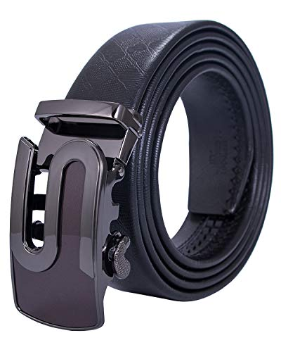 Hi-Tie Mens Leather Adjustable Waistband Black Ratchet Belt with Automatic Buckle