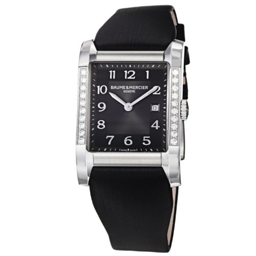Baume Mercier Women's 10022 Hampton Ladies Black Satin Strap Diamond Watch
