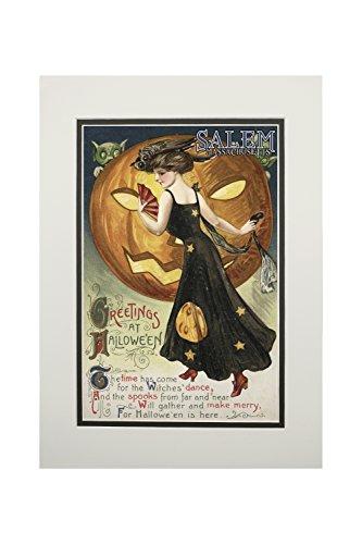 Halloween Pumpkin Artwork (Salem, Massachusetts - Halloween Greeting - Witch Dancing and Pumpkin - Vintage Artwork (11x14 Double-Matted Art Print, Wall Decor Ready to)