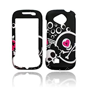 Rubberized Black White Skull Circle Cross Pink Heart Snap on Design Case Hard Case Skin Cover Faceplate for Samsung Reality U820/U370 + Screen Protector Film + Free Cell Phone Bag
