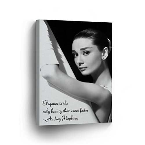 Audrey Hepburn Quotes with Ballerina Picture Canvas Print Decorative Art Modern Wall Décor Artwork Wrapped Wood Stretcher Bars - Ready to Hang - %100 Handmade in the USA