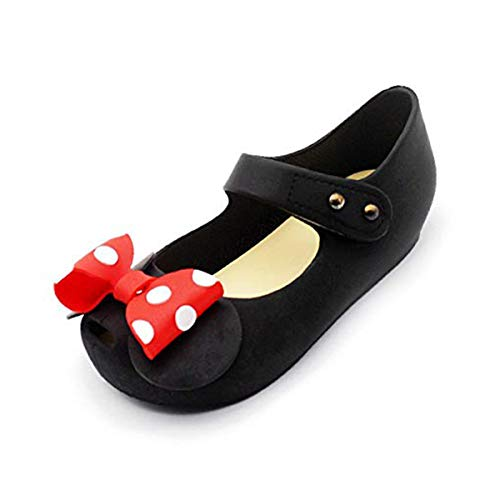 2c2be9ec12e61 Girls Sweet Mary Jane Flat Princess Sandals Jelly Shoes Toddler Kids Bow  Tie with Dots Holiday Christmas Black