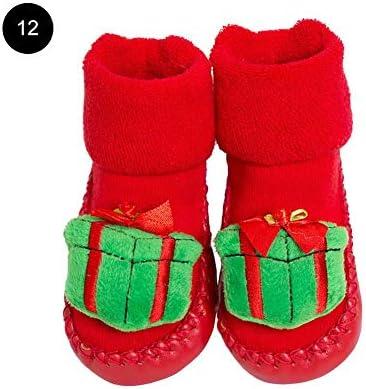 TRULIL Calcetines Antideslizantes para bebés de Navidad para bebés de 0 a 24 Meses, de algodón Grueso, para Invierno y bebés, Estilo 10, 12 cm