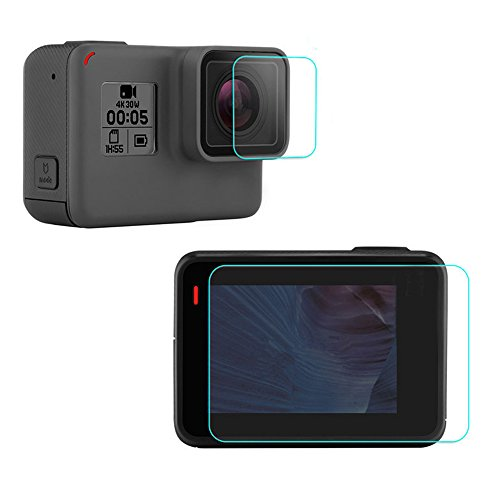 2 Pcs Screen Protector (Screen and Lens) for Gopro Hero 5 Black, APPHOME Ultra-Clear Tempered-Glass Film accessories for GoPro Hero 5 Action Camera Action Camera Accessories APPHOME