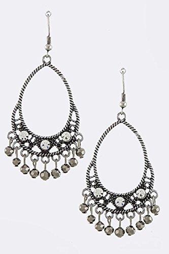 KARMAS CANVAS FACETED ORB JEWEL FRINGE EARRINGS (Antique Silver)