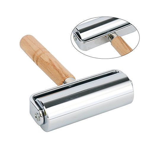 YaeTek Leathercraft Leather Press Edge Roller Leather Edge Creaser and Smoother Leather Glue Laminating Roller Iron Roll Wood Handle (Silver 100mm) (Roller Leather)