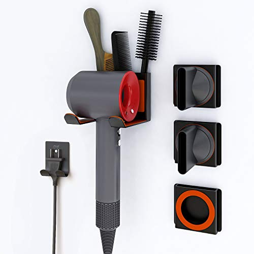 FLE Hair Dryer Holder with Storage Compartment New Upgrade Wall Mounted Blow Dryer Holder for Dyson Supersonic Hair Dryer,Power Plug,Diffuser and Nozzles Organizer-Metal Black