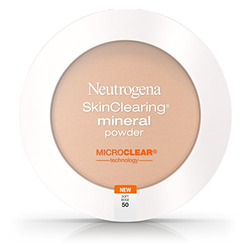 Neutrogena SkinClearing Mineral Acne-Concealing Pressed Powder Compact, Shine-Free & Oil-Absorbing Makeup with Salicylic Acid to Cover, Treat & Prevent Breakouts, Soft Beige 50, .38 oz