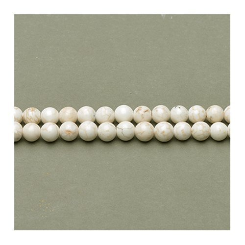 Round Cabochon Cream - Strand Of 95+ Pale Cream Magnesite 4mm Plain Round Beads - (GS2414-1) - Charming Beads