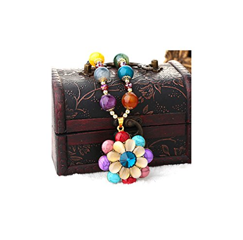 Gorgeous Jewelry Diamond Accented Multicolor Turquoise Opal Crystal Bohemia Flower Sweety Beads Necklace (Pink Lucite Flower Bead)