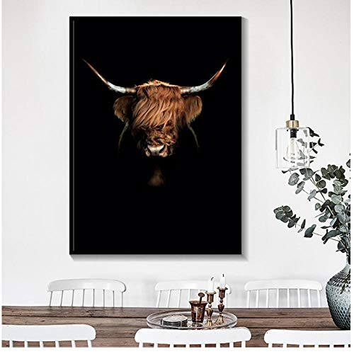 dayanzai Black and White Highland Cow Wall Art Abstract Canvas Painting Minimalism Yak Cow Prints Animal Printable Bull Poster-60x80cm-No Frame